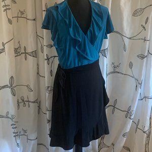 Two toned ruffle wrap dress, L.  Tiani B.